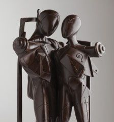 Hector and Andromache from 1968 – a patinated bronze statue of two standing figures.