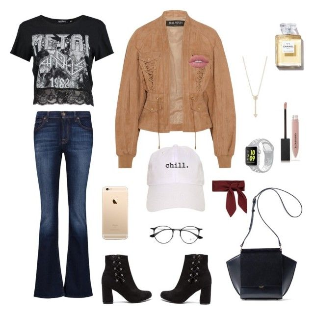 """""""Untitled #8"""" by afsyara-fifa on Polyvore featuring Boohoo, Balmain, 7 For All Mankind, Ray-Ban, EF Collection, NIKE, Burberry and Lime Crime"""
