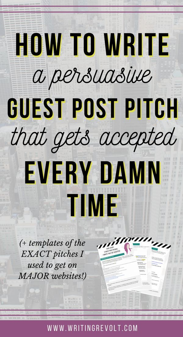 To write a guest blog post, you NEED to create a badass pitch. This post shows you EXACTLY how + pitch templates that landed me on MAJOR sites. Check it out! :)