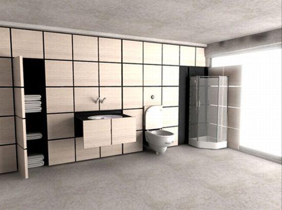 An entire bathroom hidden in a wall