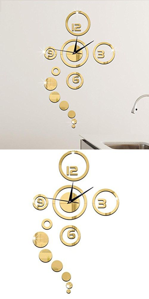 Hot Sale!Simple Circles Mirror Wall Clock Stickers,Canserin Luxury Modern Design Home Decor (Gold)