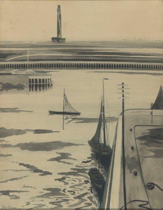 Léon Spilliaert. Le port 1909. Encre et pastel sur papier