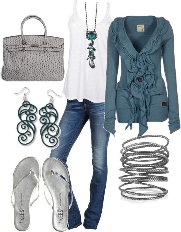 """mid-summer night"" by fabiam on PolyvoreFlipflops, Sweaters, Colors Combos, Fashion, Style, Blue, Flip Flops, Cute Outfit, Earrings"