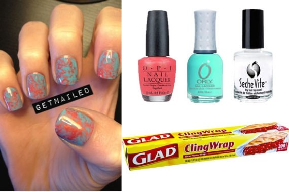 DIY Cling-Wrap Manicure Is Quick And Easy