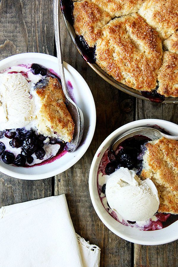 Easy Blueberry Cobbler Recipe —this recipe has a clever trick for avoiding soggy biscuit cobbler toppings, via @alexandracooks