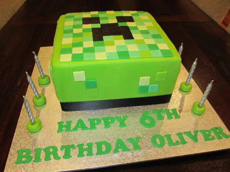 Minecraft cake. Seriously? Oliver would die