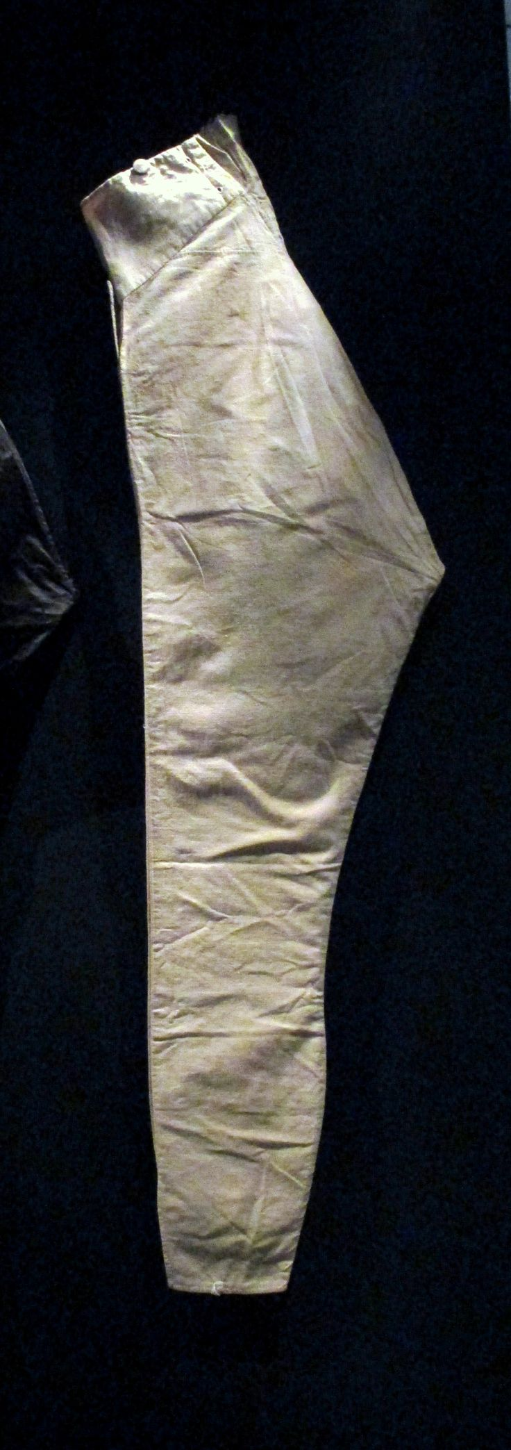 "1800-1810 Scottish Pantaloons at the Royal Ontario Museum, Toronto - From the curators' comments: ""Influenced by Neoclassical taste, pantaloons relied upon the art of a tailor for an impeccable cut that traced and enhanced the 'natural' shape of the leg. They were so tight, ankle slits were required in order to be able to get them on. A high waist emphasized the long, slender physique."""