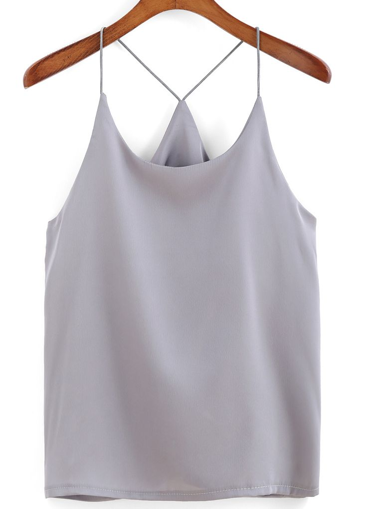 Spaghetti Strap Grey Cami Top 8.99