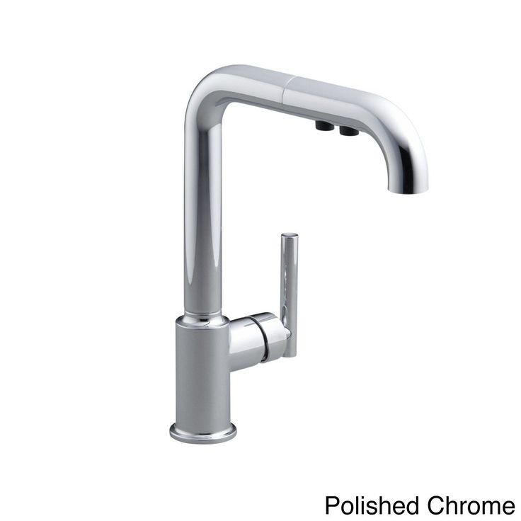 Designed to accommodate extra-thick counters, this Purist kitchen faucet combines minimalist style with simple-to-use features. This unique sink has a single lever handle and a high-arch swing spout that includes a pullout sprayhead with two flow options.