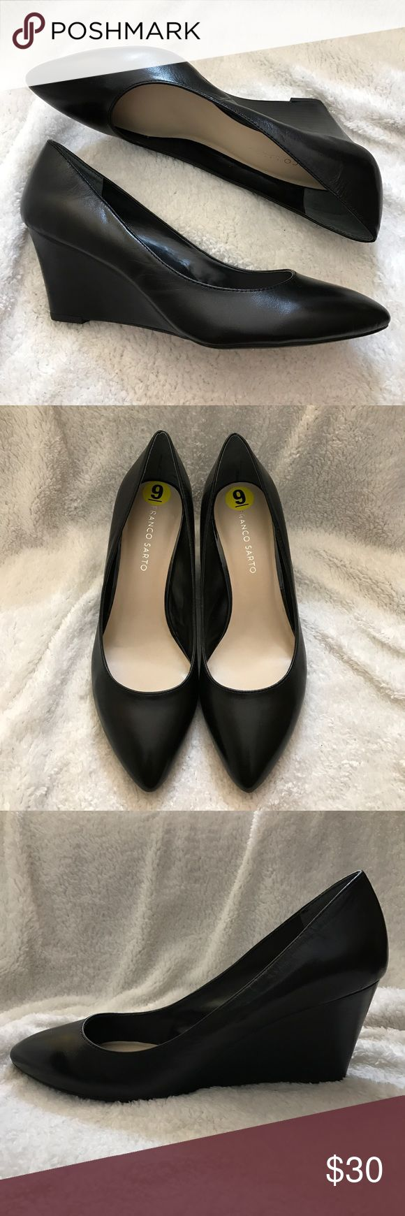 "Franco Sarto Women's PATIENCE Wedge Pumps 9M  Franco Sarto Women's PATIENCE Black leather Pointed Toe Wedge Pumps , Size 9M. Delightful pair of black leather pointed-toe pumps with stacked wedge heel measures 2.5"". The shoes are shaped for arch support and carry a cushioned insole. NWOT, never worn. Franco Sarto Shoes Wedges"