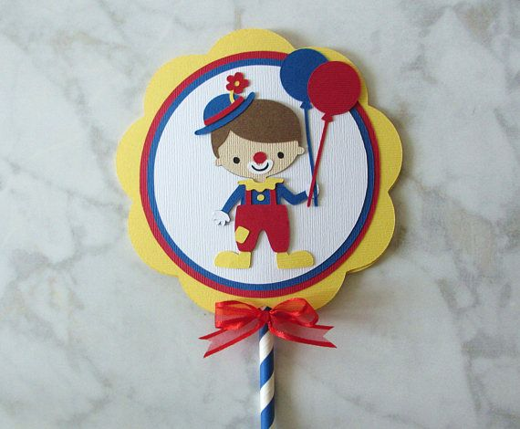 Circus Carnival Clown Birthday Party Shower Smash Cake Topper Red Yellow Royal Blue Decorations Decor