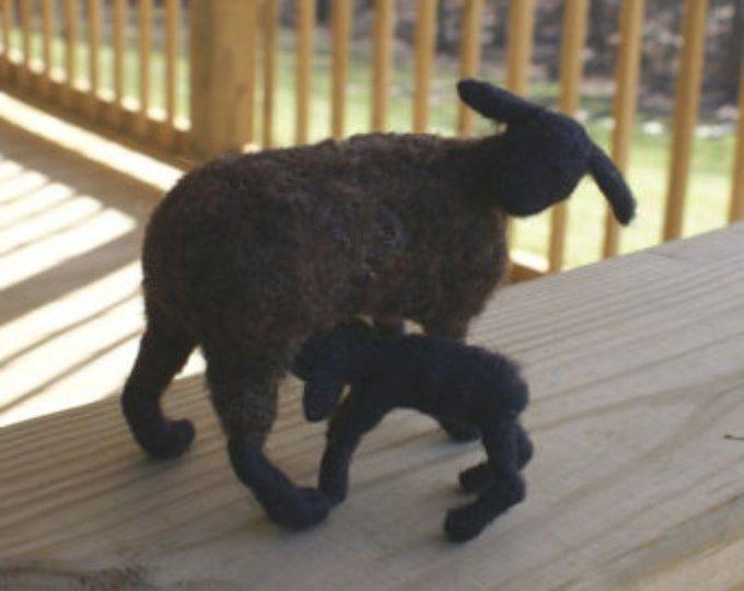 black sheep and lamb - needle felted