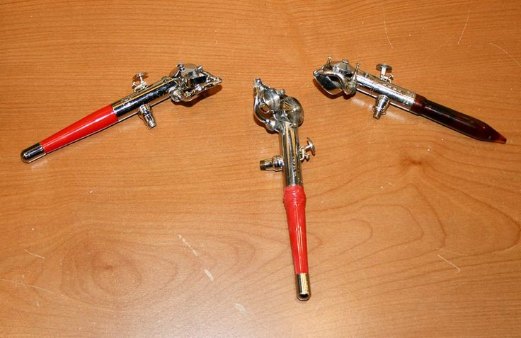 My three Paasche AB Turbo Airbrushes. (L to R) 1990s Paasche ABL Turbo [left handed]; 1950s Paasche AB Turbo; and 1920s Paasche AB Turbo Model B [for horizontal painting].