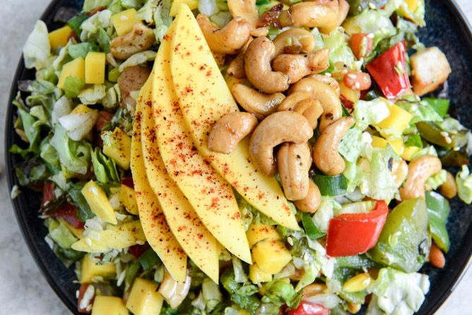 Cashew Chicken Chopped Salad with Chili Dusted Mango