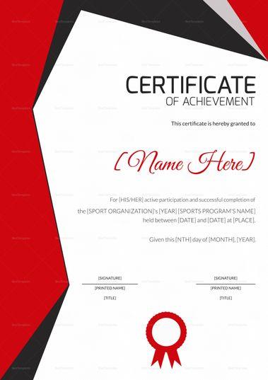 sports achievement award certificate template certificate design