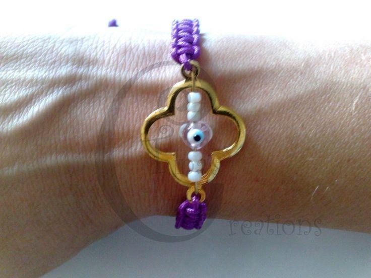 Bracelet macrame purple cord cross tinas creation evil eye 16cm alloy g plated #TinasCreations #macrameadjustablebracelet