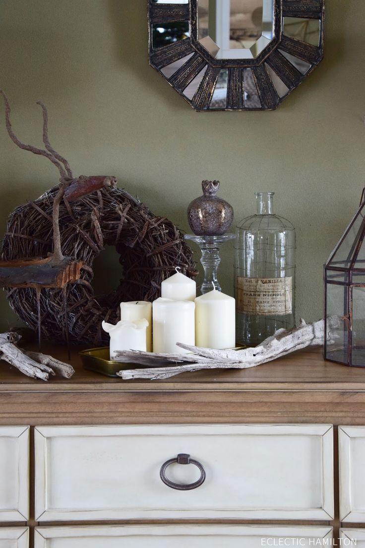 Dekoideen fürs Wohnzimmer und Sideboard zwischen Weihnachten und Frühjahr. Deko Dekoration natürlich Tipps Ideen gemütlich Konsole