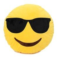 Wish | Sunglasses 32cm Bed Sofa Home Office Car Emoji Smile Emoticon Round Cushion Pillow Stuffed Plush Soft Toy