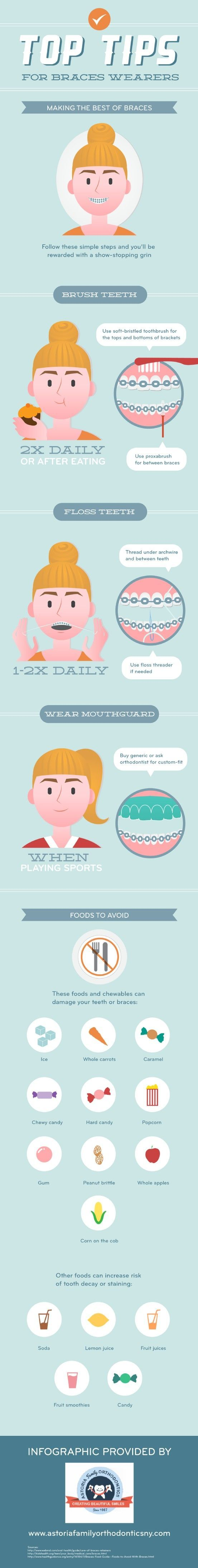 When you have braces, it is important to floss your teeth once or twice a day. Pay attention to the areas under the archwire and the space between your teeth. For more information on oral care, check out this infographic from Woodside's Astoria Family Orthodontics. Source: http://www.astoriafamilyorthodonticsny.com/670237/2013/03/26/top-tips-for-braces-wearers-infographic.html: