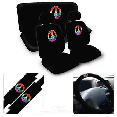 Peace Symbol Seat Covers for Car SUV - Front & Rear Set