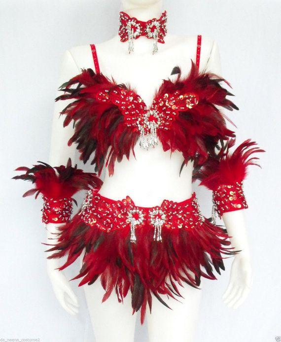 Feather Dance Drag Bra Skirt Bra Belt Samba Costume Set by DaNeeNa