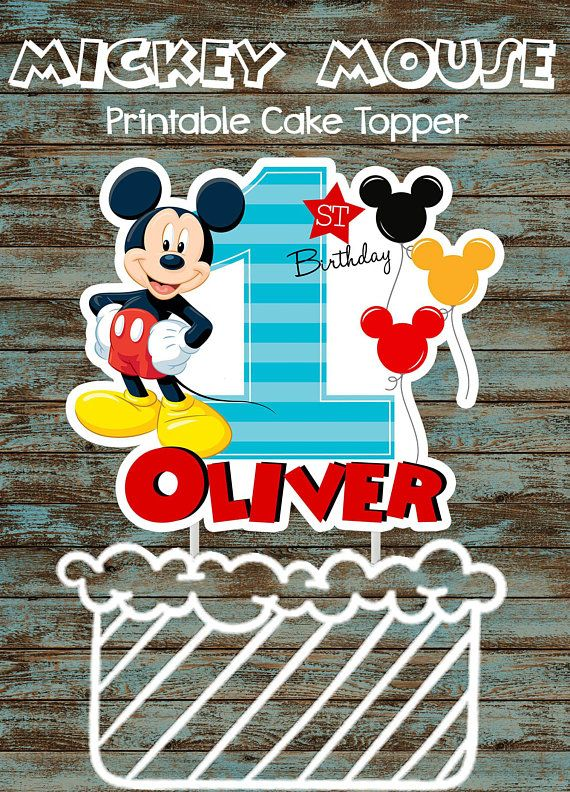 Printable Baby Mickey Mouse 1st Birthday Cake Topper Custom Etsy Mickey Mouse 1st Birthday Mickey Mouse Cake Topper 1st Birthday Cake Topper