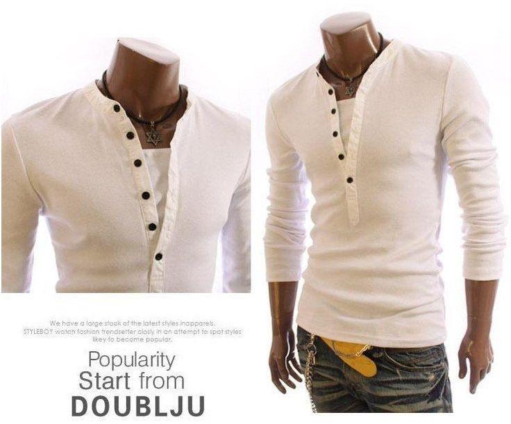 Men's Fashion Slim V-Callor Faux 2pcs long Sleeve
