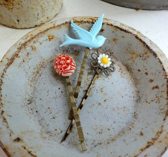 Happy Hair Pins - red floral, blue bird and white daisy