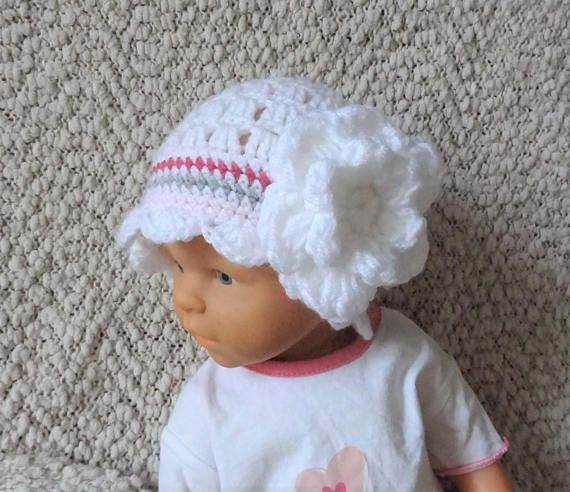 crochet lace hat with flower  girl lace hat  white baby hat