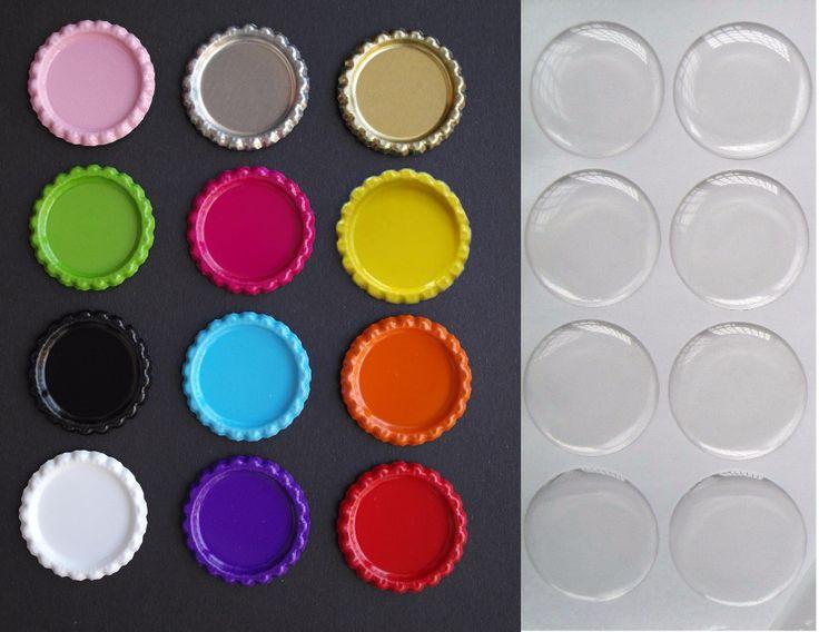 Смешать Заказ 100 Шт. Double Side Цветные Flattened Пробки для Бутылок с 100 Шт. Ясно Эпоксидные Наклейки Для Украшения Diy Ремесла Hairbow