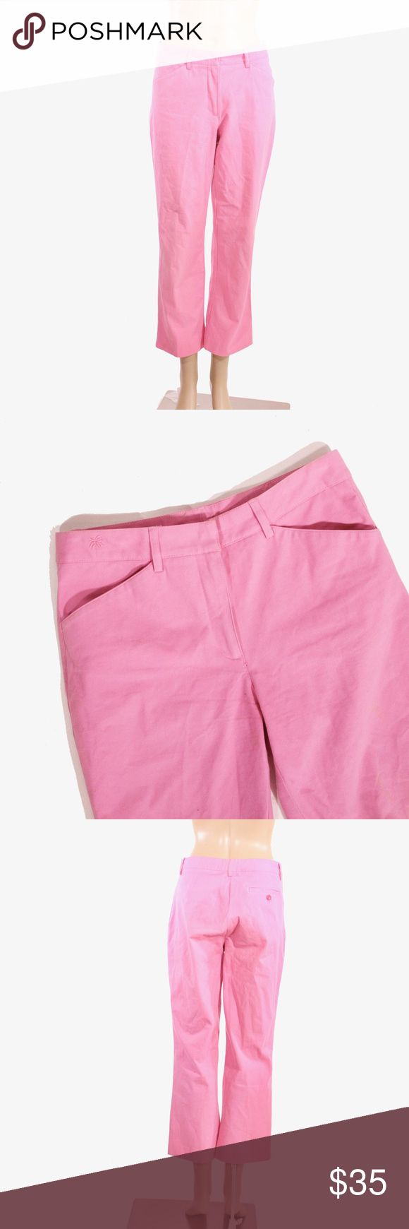Lilly Pulitzer Cotton Pink Ankle Length Pants Lilly Pulitzer pink ankle length pants with zipper and clasp closure and two front pockets.  Fits true to size.  Shown on a size 4/6 mannequin.  In gently used condition, no flaws.  Measurements available upon request.  All orders shipped same or next business day! Lilly Pulitzer Pants Ankle & Cropped
