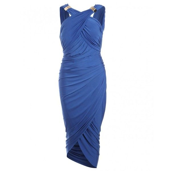 Forever Unique Dress, Mika Blue Drape & Wrap Dress (¥14,555) ❤ liked on Polyvore featuring dresses, blue, strap dress, drape wrap dress, electric blue dress, royal blue cocktail dress and blue dress