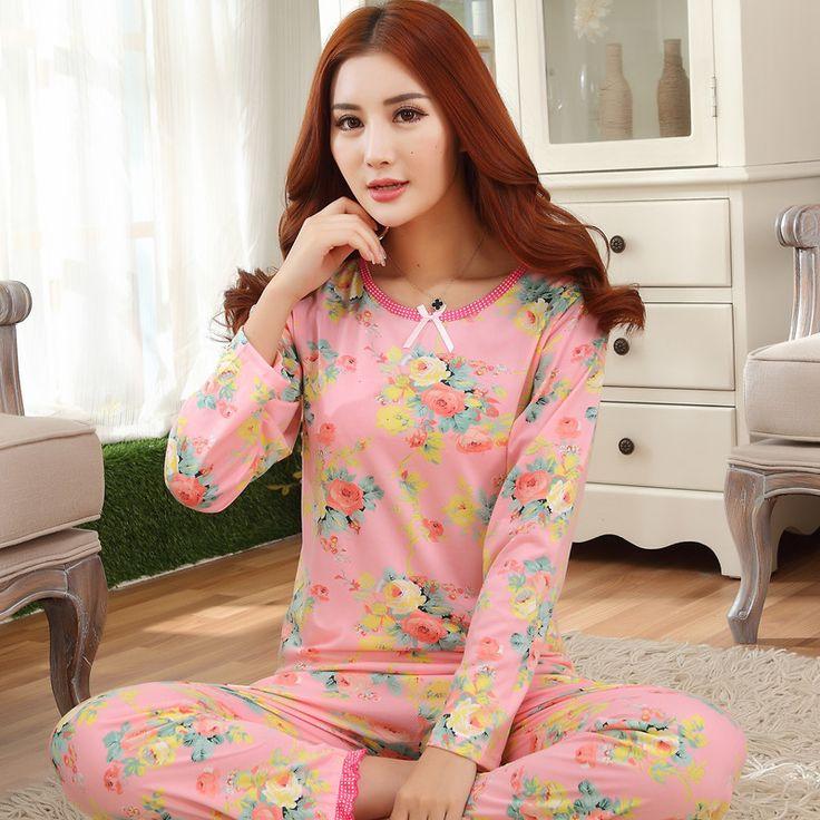 Rabat Nowy 2017 Babie lato Kobiety Homewear Piżamy Ustawia Druku Kwiaty Różowe Dziewczyny Piżamy Piżamy Damskie Dla Kobiet Koszula Nocna