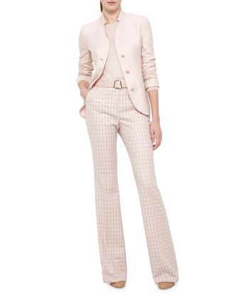 Single-Breasted+Mock-Neck+Jacket,+Long-Sleeve+Jewel-Neck+Pullover+&+High-Waist+Boot-Cut+Check+Pants+by+Akris+at+Neiman+Marcus.