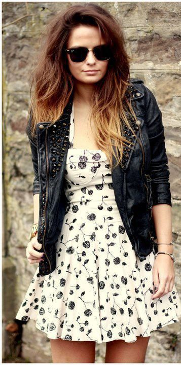 Summer style pretty floral white dress with stylish leather jacket