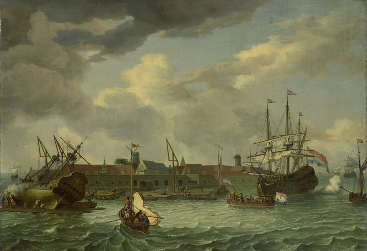 The Island of Onrust near Batavia (Jakarta), manner of Abraham Storck, 1699