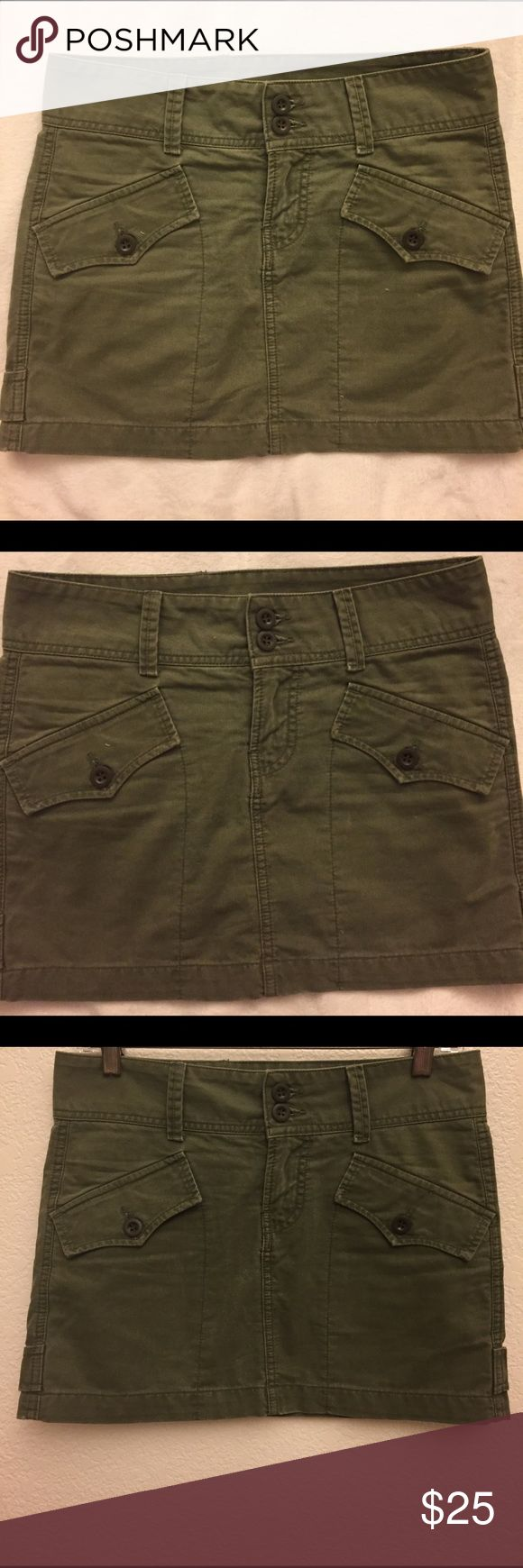 """Lucky Brand Skirt  Army Green,  cotton, size 25, waist 31"""", length 13"""". In excellent condition. Lucky Brand Skirts Mini"""