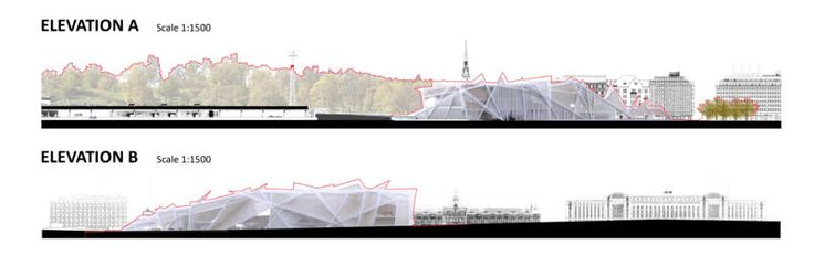Elevation design to follow the landscape and the Baltic sea for the museum of Guggenheim in Helsinki by TheeAe LTD
