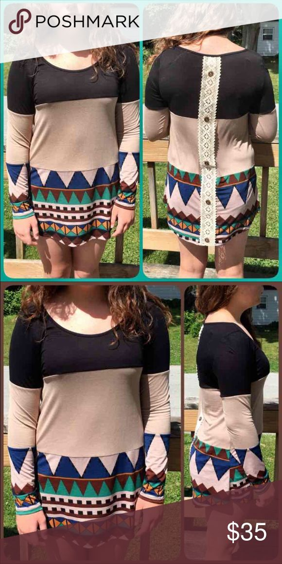 🆕Listing! Crochet Back Colorblock Aztec Tee! NEW! Gorgeous earth tones! Crochetlace stripe down back! Colorblock in black, taupe and tribal print. NWOT only worn to model. Model is a size 8 medium 64 inches tall. Boutique Tops Tunics