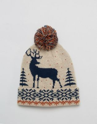 ASOS Christmas Stag Beanie In Mink Twist