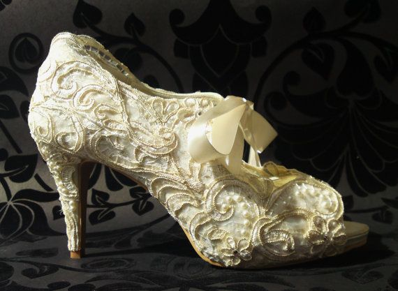 Design 'REGENCY' - embellished with lace, gold embroidery, pearls and Swarovski elements.  Soft leather insoles - Nicky ROX Shoe Designs.  http://www.nickyrox.co.uk/