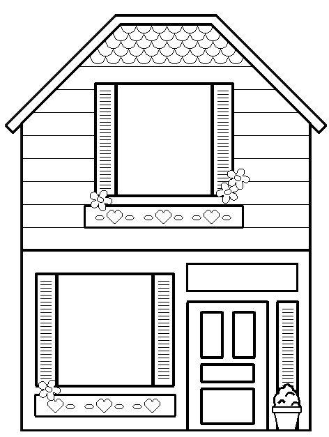 Ook leuk; het huis inkleuren met ecoline en wattenstaafjes. En dan de raampjes uit laten prikken. En dan een foto er achter!