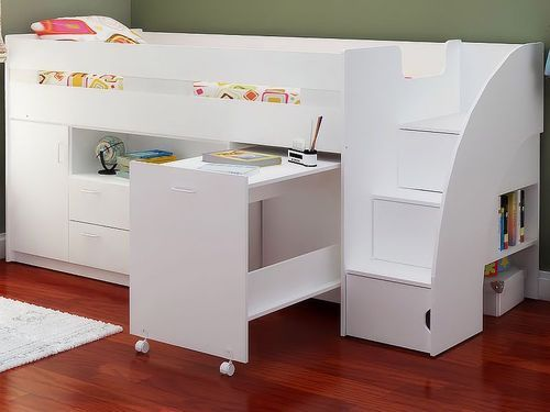 Oak Or White Childrens Mid Sleeper Beds - Midsleeper Cabin Bed Desk And  Storage | eBay