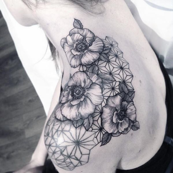 Geometric flowers tattoo
