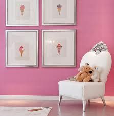 Warhol's graphic ice cream prints create a cool but cute display for a kiddies bedrooms.