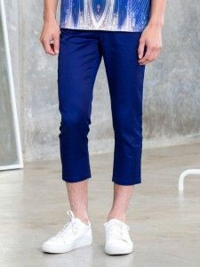 AM.XANDER Mono Cropped Navy Trousers