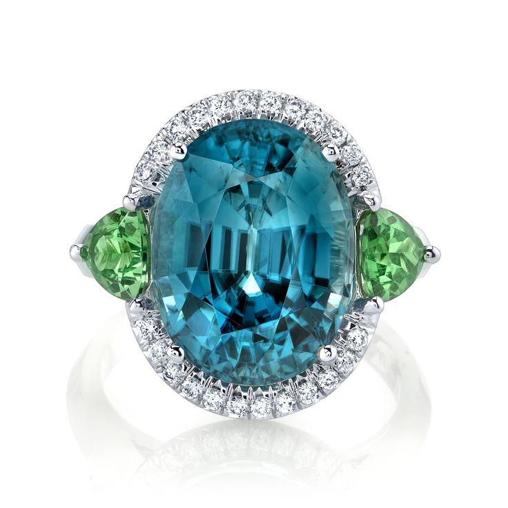 Omi Prive blue zircon, tsavorite and diamond cocktail ring.