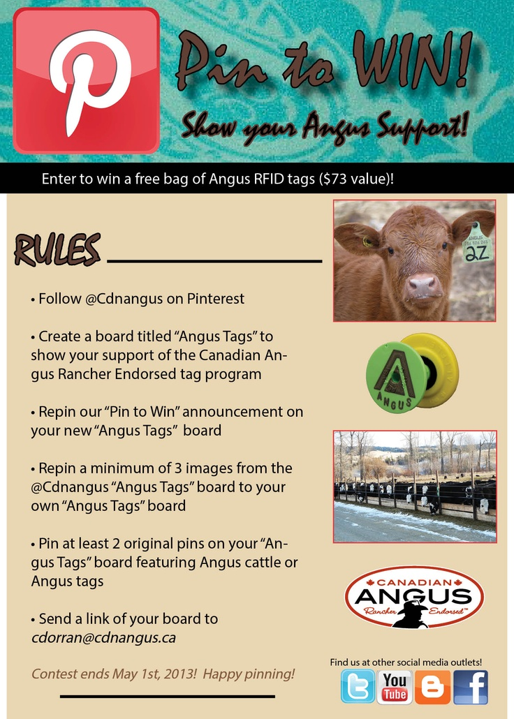 Pin to Win! Follow our rules listed for the chance to win a FREE bag of #CanadianAngusRancherEndorsed #AngusTags! #cdnangus