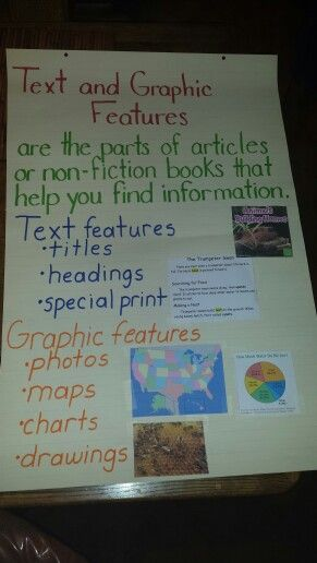 text and graphic features anchor chart  2nd grade