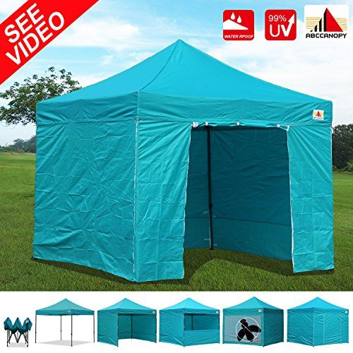 AbcCanopy 10x10 EZ Pop up Canopy Tent Instant Shelter Commercial Portable Market Canopy with Matching Sidewalls Weight Bags Roller Bag bonus 1x screen wall and 1x half wall TURQUOISE ** Learn more by visiting the image link.